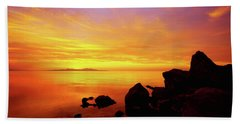 Sunset And Fire Beach Towel