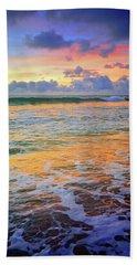 Beach Towel featuring the photograph Sunset And Sea Foam by Tara Turner