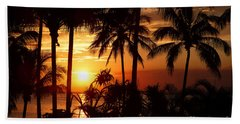 Sunset And Silhouettes Beach Towel