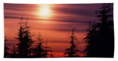 Sunset And Trees Two  Beach Towel by Lyle Crump