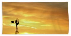 Sunset And Windmill 11 Beach Towel by Rob Graham