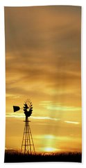 Sunset And Windmill 12 Beach Towel by Rob Graham