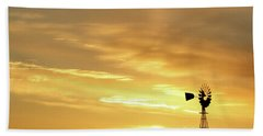 Sunset And Windmill 13 Beach Towel by Rob Graham