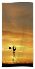 Sunset And Windmill 14 Beach Towel by Rob Graham
