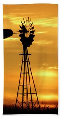 Sunset And Windmill 15 Beach Towel by Rob Graham