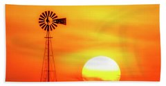Sunset And Windmill 16 Beach Towel by Rob Graham