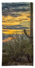 Sunset Approaches - Arizona Sonoran Desert Beach Towel