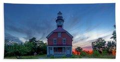 Sunset At Au Sable Point Lighthouse Beach Sheet