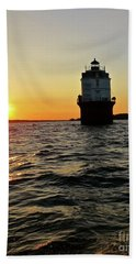 Sunset At Baltimore Light  Beach Sheet by Nancy Patterson