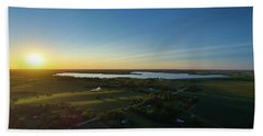 Sunset At Branched Oak Lake Beach Towel