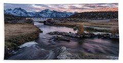 Sunset At Hot Creek Beach Towel