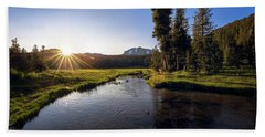 Sunset At Kings Creek In Lassen Volcanic National Beach Sheet