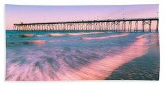 Beach Towel featuring the photograph Sunset At Kure Beach Fishing Pier Panorama by Ranjay Mitra