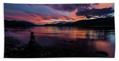 Sunset At Lake Mcdonald Beach Towel