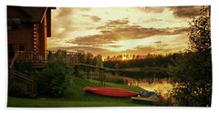 Sunset At Lakeside Lodge Beach Towel by Lynn Bolt