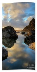Sunset At Moonstone Beach Towel by Mark Alder