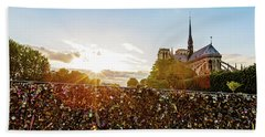 Sunset At Notre Dame De Paris Beach Towel