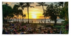 Sunset At Old Lahaina Luau #1 Beach Towel