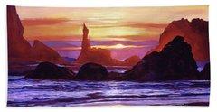 Sunset At Oregon Rocks Beach Towel