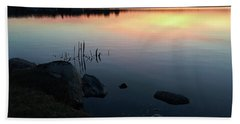 Sunset At Pentwater Lake Beach Towel
