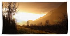 Sunset At Pitt Lake Dyke Beach Towel