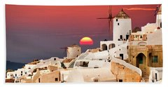 sunset at Santorini Beach Towel