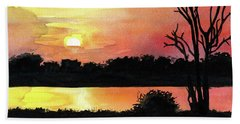Beach Towel featuring the painting Sunset At Shire River In Malawi by Dora Hathazi Mendes