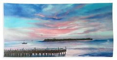 Sunset At Sunset Pier Tiki Bar Key West Beach Towel