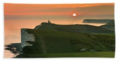 Sunset At The Belle Tout Lighthouse Beach Towel