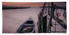 Sunset At The Dock Beach Sheet by Marion McCristall