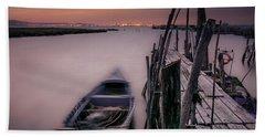 Sunset At The Dock Beach Sheet