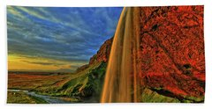 Beach Sheet featuring the photograph Sunset At The Falls by Scott Mahon