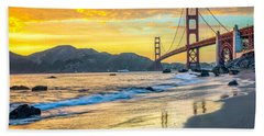 Sunset At The Golden Gate Bridge Beach Towel