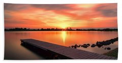 Sunset At The Lake Beach Towel