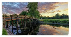Sunset At The Old North Bridge Beach Towel