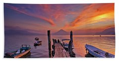 Sunset At The Panajachel Pier On Lake Atitlan, Guatemala Beach Sheet
