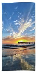 Sunset At The Pismo Beach Pier Beach Towel by Vivian Krug Cotton