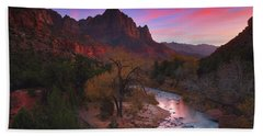Sunset At The Watchman During Autumn At Zion National Park Beach Sheet