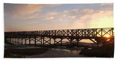 Sunset At The Wooden Bridge Beach Towel