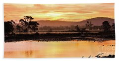 Sunset At Triabunna Tasmania Beach Towel by Lexa Harpell