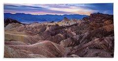 Sunset At Zabriskie Point In Death Valley National Park Beach Sheet