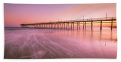 Beach Towel featuring the photograph Sunset Beach Fishing Pier In The Carolinas At Sunset by Ranjay Mitra