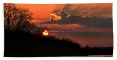 Beach Towel featuring the photograph Sunset Behind A Knoll by William Selander
