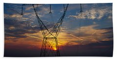 Sunset Behind High Tension Power Lines Beach Towel