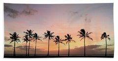 Sunset Behind The Palms Beach Towel