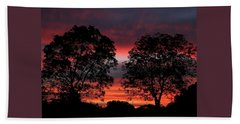 Sunset Behind Two Trees Beach Sheet by Sheila Brown