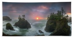 Beach Towel featuring the photograph Sunset Between Sea Stacks With Trees Of Oregon Coast by William Lee