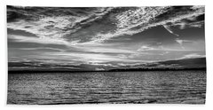Sunset Black And White Beach Towel by Doug Long