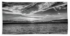 Sunset Black And White Beach Sheet by Doug Long