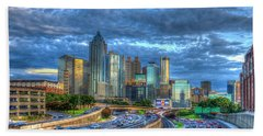Beach Towel featuring the photograph Sunset Blue Glass Reflections Atlanta Downtown Cityscape Art by Reid Callaway